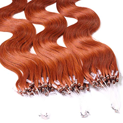 Hair2Heart 25 x 1g Microring Loop Extension Capelli Veri - 50cm - Ondulato, Colore #130 rame rosso