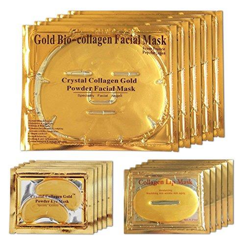 Maschere facciali al collagene in gel d'oro 24K, maschere per il viso + maschere al collagene in gel + maschere per gel per labbra 5 set per antietà e idratanti
