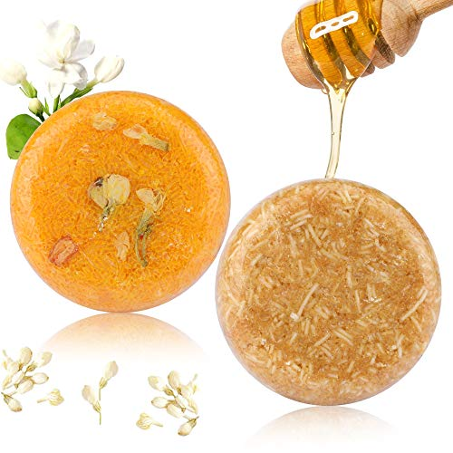 2Pcs Hair Shampoo Bar, Sapone per capelli (Gelsomino + Miele) Shampoo per vari tipi di essenze vegetali per capelli secchi e danneggiati