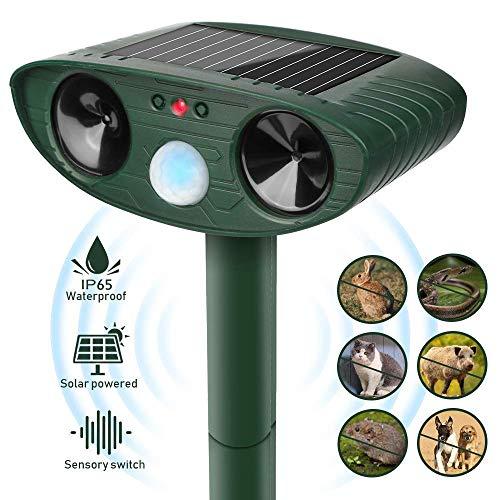 Vivibel Repellente per Animali, Repellente per Gatti, Solare Repellente Ultrasuoni con Ricarica Solare e USB, Repellente Solare per Talpe, Animali Repeller Impermeabile con LED, per Gatti, Cani, Topi