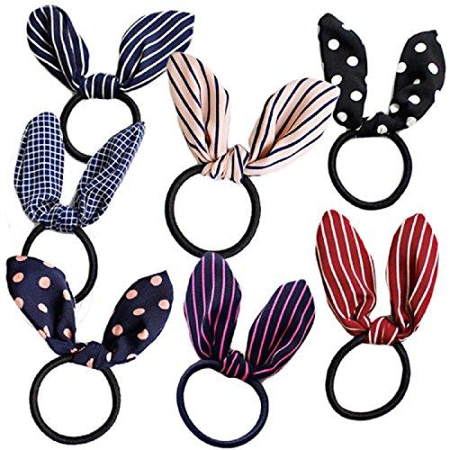 Miya®, set di 6 elastici per capelli di alta qualità con orecchie da bunny, a pois, a quadri, bellissimi accessori per capelli e coda di cavallo