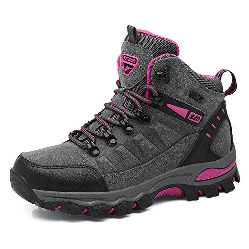 WOWEI Scarpe da Escursionismo Arrampicata Sportive All'aperto Impermeabili Traspiranti Trekking Sneakers da Donna Uomo,Grigio Rosa Rossa 1,36