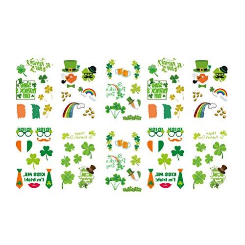 Lurrose Tatuaggio di 10 Fogli di San Patrizio per Bambini Adesivi Trifoglio Trifoglio Adesivi Quadrifoglio Autoadesivo temporaneo Autoadesivo bomboniere irlandesi Regali per Donna