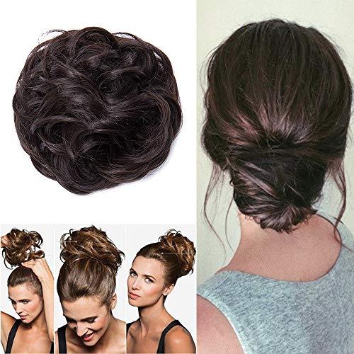 Elailite Extension Chignon Capelli Finti Hair Bun Elastico Updo Toupet Donna Ponytail Coda Posticci Ricci Ciambella 40g, Marrone Cioccolato