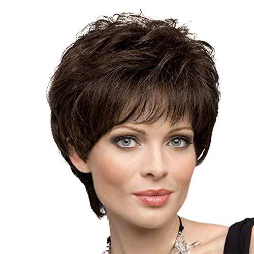 HAIRCUBE Parrucche corte per donne Parrucche in fibra di Kanekalon sane con frangia Parrucca di capelli castano scuro