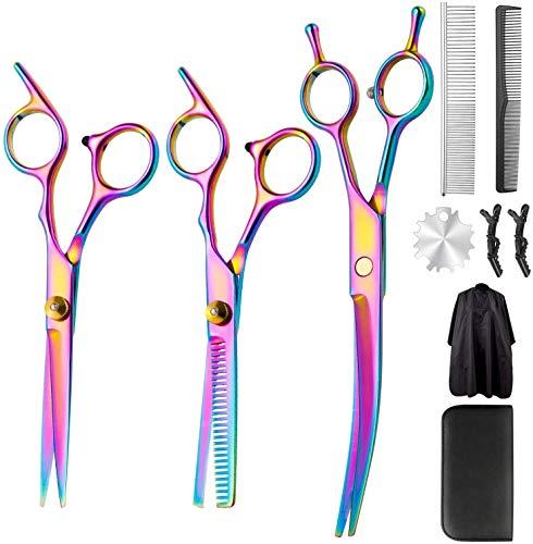 Set di forbici professionali da parrucchiere, 10 pezzi di forbici da taglio e forbici affilate da parrucchiere sottili per uomini e donne, bambini, animali domestici