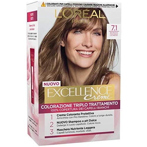l'Oréal Paris Excellence Crema Colorante Triplo Trattamento Avanzato, 7.1 Biondo Cenere - 1 Pacco