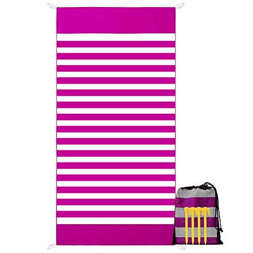 YZCX Asciugamano da Spiaggia in Microfibra XXL 180x90cm Teli Mare Asciugatura Rapida Leggero Coperta da Viaggio con Custodia e Chiodi da Terreno per Palestra, Yoga, Nuoto, Campeggio (Rosso)