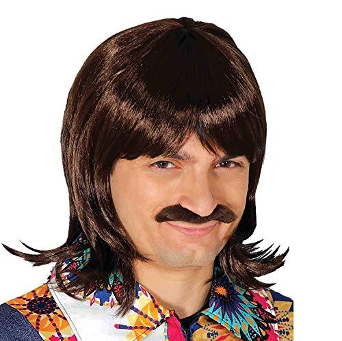 Parrucca anni '70 uomo castana con baffi