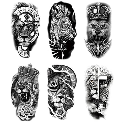 Leone indossa una corona Tatuaggi Temporanei Black Domineering Tatuaggi Adesivi Impermeabile e durevole Simulazione Falso Arm Animali Tatuaggio Autoadesivo for bambini Adesivi for bambini Adottamenti