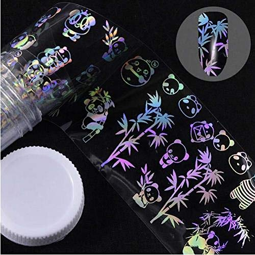 FRHUJKD Adesivo per unghie 4 * 100cm / Roll Adesivo olografico con Lamina di Leone Panda Tarassaco Adesivo per trasferimento di Arte in bambù Acquascivolo Decalcomanie per Arte