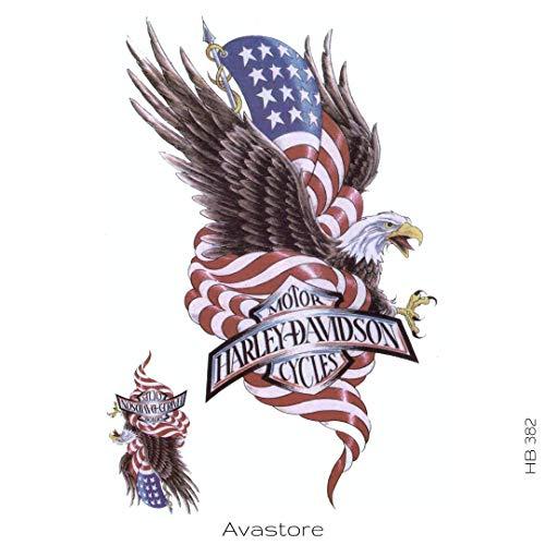 AVASTORE - Tatuaggio temporaneo da uomo, motivo: aquila, bandiera americana, per motociclisti, tatuaggio temporaneo, per uomo