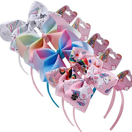 BETOY 5 Pezzi Cerchietti Unicorno Fasce per capelli Bambina Ragazza Cerchietto Multicolore Fiocco Coperte da Nastro Tessuto Hairbands feste Accessorio Unicorno Party Festa Compleanno (5 Colori)