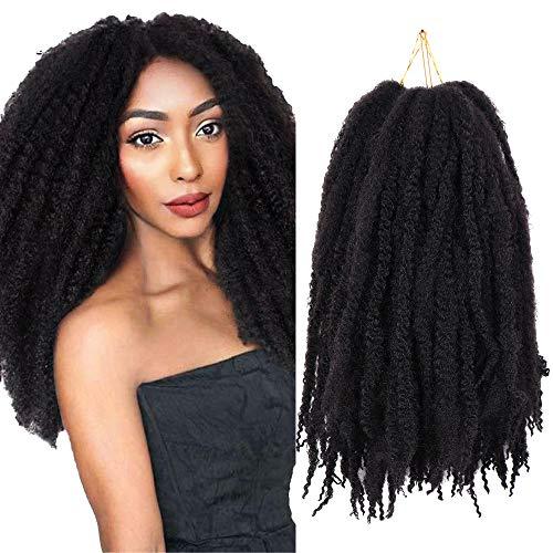 3 confezioni di Extension dei capelli ricci naturali marley neri all'uncinetto Marley in fibra sintetica (18 pollici,1B#)