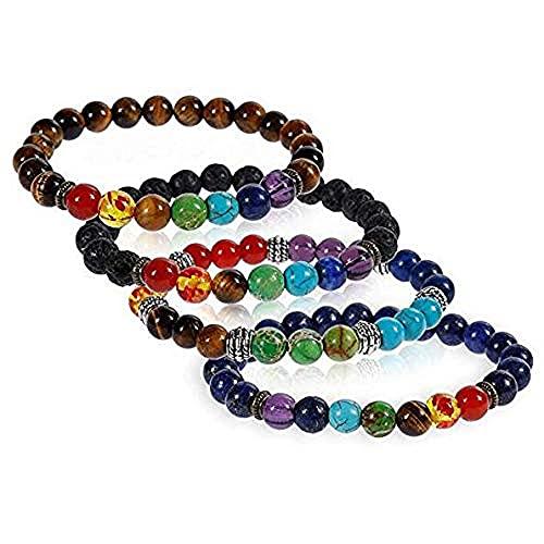 iwobi 4 pezzi Bracciale Buddista,Bracciali in Pietra Lavica Pietre Naturali Colorato,Terapia Energetica Yoga