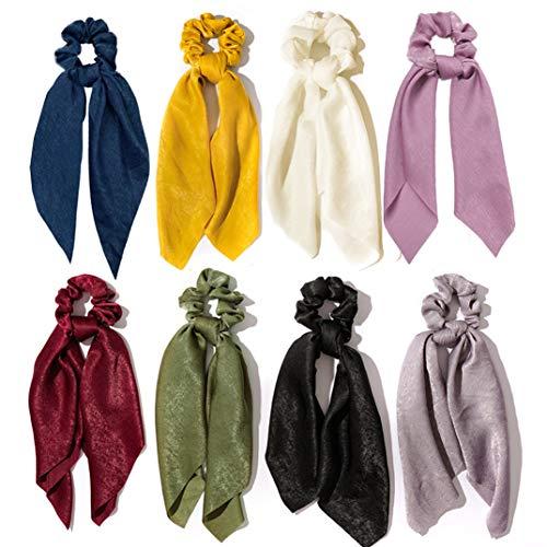 8pcs chiffon capelli scrunchies bowknot raso di seta fascia per capelli elastico titolare coda di cavallo accessori per capelli per le donne ragazze (Colori profondi)