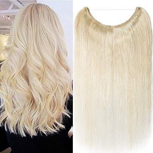 Rich Choices 50cm Extension Capelli Veri con Filo Invisibile Remy Human Hair Extension Filo Trasparente Capelli Lisci Pesa 70g, 60 Biondo Platino
