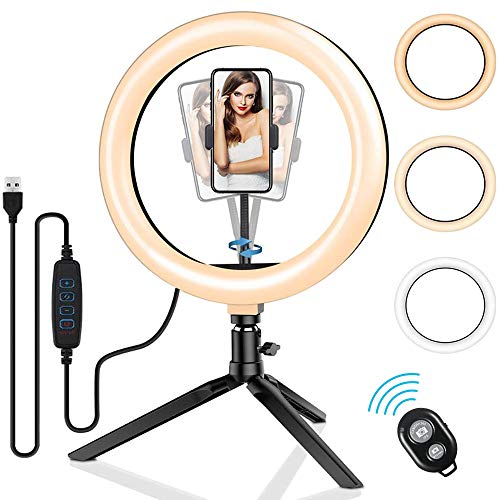 EasyULT Luce TIK Tok LED Anello Treppiedi, 10 Pollici Ring Light Dimmerabile, Treppiedi Cellulare Portabile, 3 modalità & Luminosità di 10 Livelli per Youtube, Selfie,Trucco