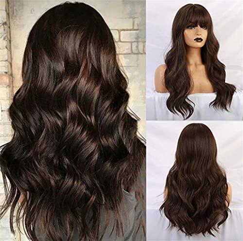 Esmee Parrucca Marrone nero da 24 pollici,parrucca sintetica resistente al calore a ricci lunghi per donna(con frangia)