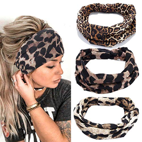 Yean Fasce per capelli Boho Yoga Fasce elastiche larghe leopardate Fasce per capelli Accessori per capelli per donne e ragazze (confezione da 3)