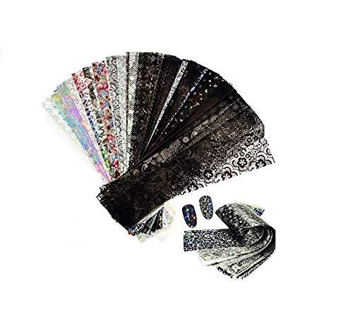 Watchwe 50pcs Cielo stellato Nail Foil Disegni misti Nail Art Transfer Adesivi Carta olografica Decalcomanie Manicure Nail Decor