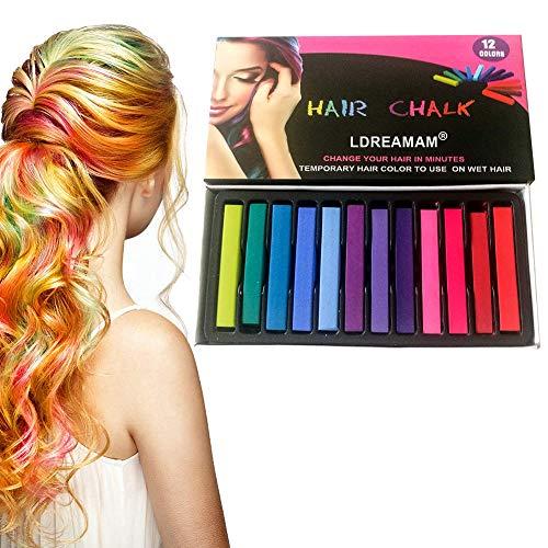 Capelli Gesso,Capelli Temporanea Gesso,12 Colore Instant Hair Chalk Capelli Tintura Temporanea Colorato Sicuro Lavabile per party, Natale e cosplay DIY