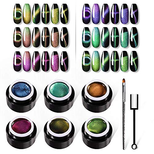 VOXURY Super Cat Eye Gel Smalto per unghie Set - Chameleon Magnetic Gel Soak Off UV LED con magnete Stick + Penna per pittura Gel + 6PCS Cat Eye Gel Polish Kit 5ml