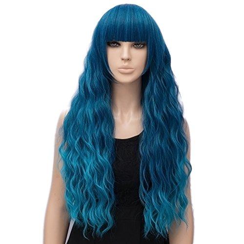 Parrucca Ondulata Lunga Blu Scuro, FiveFour Parrucche Donna Sintetiche con Frangia per Uso Quotidiano e Festa