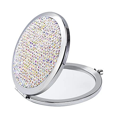 Specchio Cosmetico Portatile con Strass Specchio Compatto Rotondo Specchio Pieghevole a Doppio Lato per Donne Ragazze