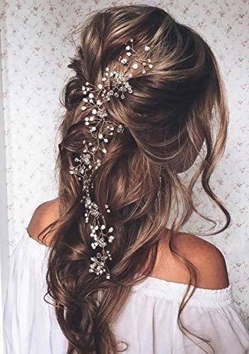 Unicra Wedding Bridal Crystal Capelli lunghi Vines Fasce copricapo da sposa Accessori per capelli per spose e damigelle (argento)