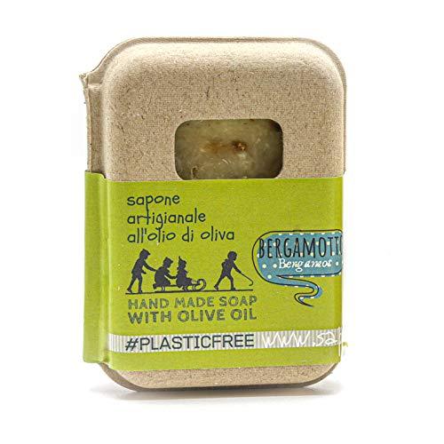 Saponetta Artigianale e 100% Naturale - Sapone per Viso, Mani, Corpo e Capelli - Adatto a Pelli Grasse e Impure, Proprietà Antisettiche - 100 g, Bergamotto