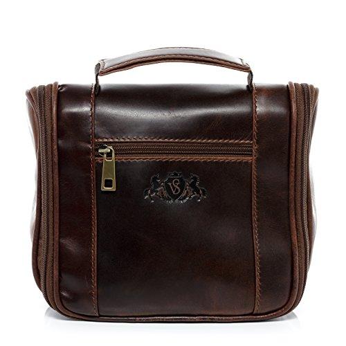 SID & VAIN® borsa toiletry vera pelle vintage HEATHROW borsetta necessaire Toilette pochette beauty case da Viaggio uomo donna marrone