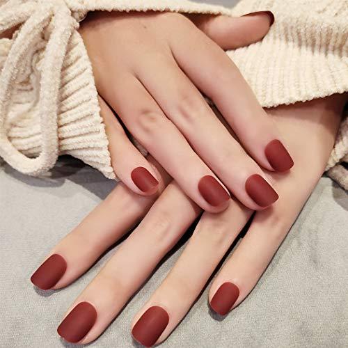 Sethexy Opaco Corto Piazza Unghie finte Puro Rosso 24X Copertura completa Acrilico Premi su Suggerimenti per unghie finte per Donne bambini Ragazze