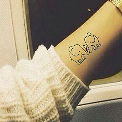 Bel tatuaggio adesivo temporaneo impermeabile, motivo: elefanti, colore nero, 5 pezzi