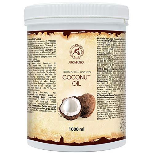 Olio di Cocco 1000ml - 100% Naturale & Puro - Cocos Nucifera - Indonesia - Non Purificato - Coconut Oil - Pelle Morbida ed Elastica - Cura di Capelli - Aromaterapia - Massaggi - SPA
