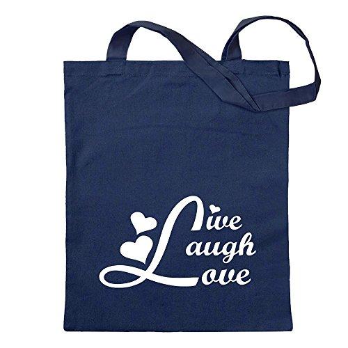 Kiwistar vivere ridendo amore Borsa di iuta - Proverbi stampati che raccontano modelli Borsa di fitness per il fitness a forma di borsa di cotone appesa a un manico lungo