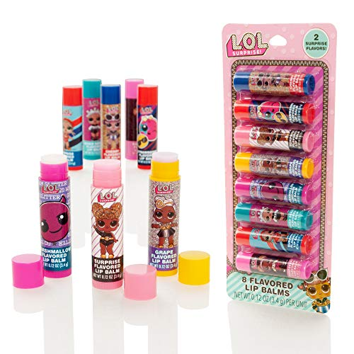 MGA Entertainment LOL Surprise Confezione da 8 Stick aromatizzati con balsamo per Labbra - Set da Donna Lip Gloss