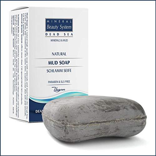 Mineral Beauty System Saponetta in Fango del Mar Morto 125 g - Sapone ideale per Mani, Corpo e Viso - Idratante, Anticellulite, Vegan, Combatte le Imperfezioni, Rimedio contro Acne e Brufoli