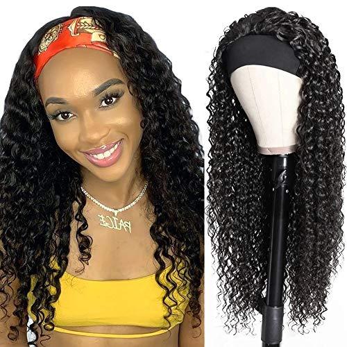 Parrucca donna capelli veri ricci lunghi Brazilian human hair wigs 14inch(35cm) capelli umani parrucca Afro nera lunga con headband deep curly (Colore naturale)
