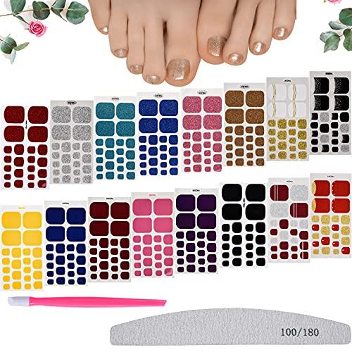 FORMIZON Unghie Piedi Adesivi Smalto, 16 Fogli Autoadesivo Nail Art Stickers, Smalto Adesivo per Unghie, Nail Stickers Unghie Adesivi con Lime Unghie per Decorazioni Nail Art Manicure Fai da Te