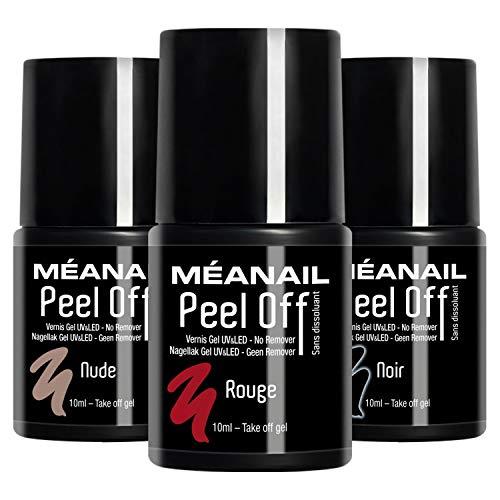 Trio Peel Off Unghie • Smalto Peel Off Semipermanente • 3 Colori Semipermanenti One Step 3 in 1 • Rimozione Facile Effetto Sticker Senza Acetone • Vegan & Cruelty Free • MEANAIL
