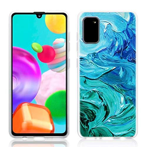 ZhuoFan Custodia Samsung Galaxy A41, Sottile Clear Trasparente Back Bumper Cover Silicone con Print Pattern Antiurto Shockproof Protettiva Phone Case per Samsung Galaxy A41 Smartphone, 26