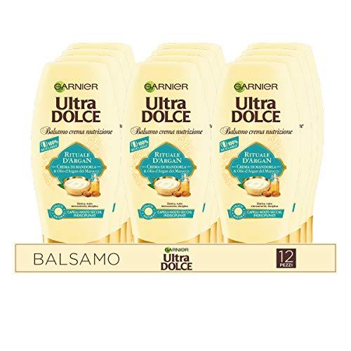 Garnier Multi Pack Balsamo Ultra Dolce Rituale d'Argan, Balsamo per Capelli Secchi e Indisciplinati, 250 ml, Confezione da 12