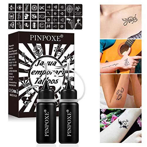 Tatuaggi Temporanei, Tattoo Ink, Inchiostro del Tatuaggio, Tatuaggi Temporanei, Jagua Gel, Freehand Ink Tattoo, Temporary Tattoo Ink, Jagua Fruit Gel/Ink con stencil per tatuaggi di design speciale