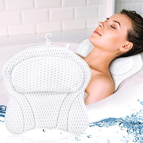 DONGQI Cuscino Vasca da Bagno Poggiatesta per Vasca da Bagno Cuscino con Ventose Antiscivolo Home Spa 4D Impermeabile Bath Pillow per Il Collo Testa e Spalle