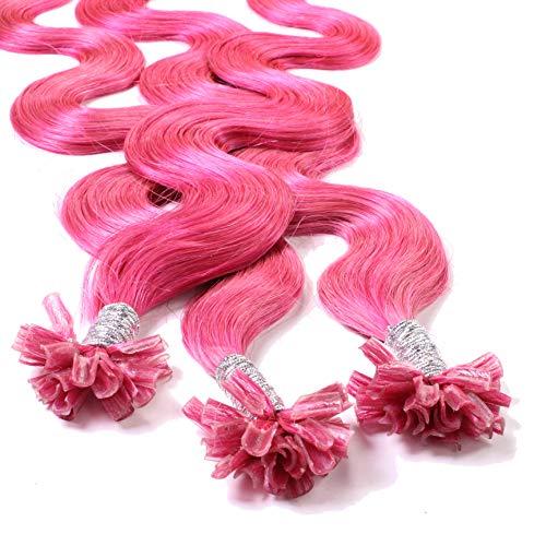 Hair2Heart 25 x 0.5g Extension Capelli Veri Cheratina - 60cm, Colore #Rosa, ondulato