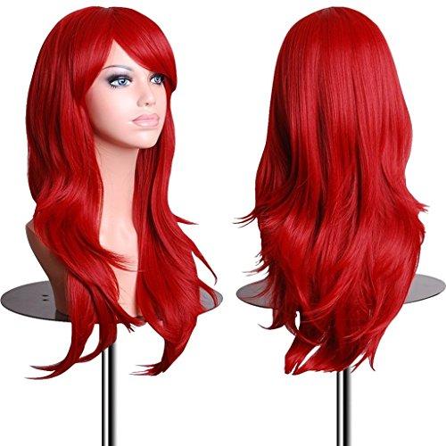 EmaxDesign Wigs - Parrucca da 70 cm / 28', anche per Cosplay, lunga, folta, con riccioli ampi, fibra resistente alle alte temperature, Accessorio di pregio dotato di pettinino e retina