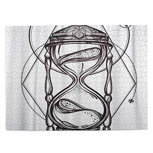 HASENCIV Puzzle da 500 pezzi Romantico bel disegno del simbolo del tempo mistico tatuaggio a clessidra per adulti Jigsaws per Giochi Famiglia Decorazione Domestica
