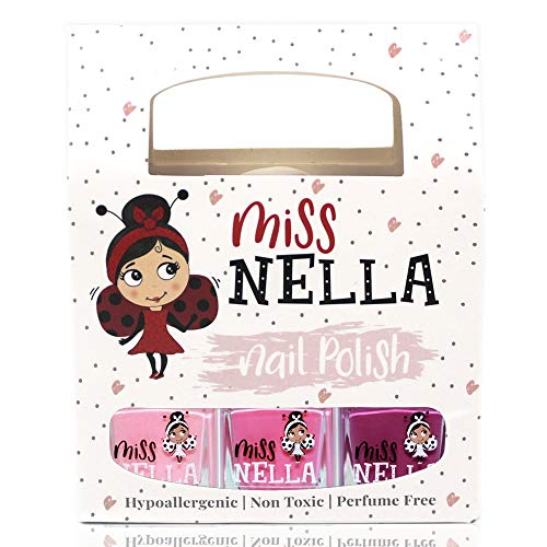 Miss Nella PICCOLA SCATOLA DOLCE: Scatola da 3 smalti peel off, senza odori, a base d'acqua e sicuro per bambini- Cheeky Bunny, Pink A Boo & Little Poppet
