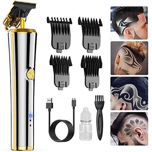 Tagliacapelli Uomo Professionale,Oudekay USB Ricaricabile Cordless Rasoio Capelli Tagliacapelli Hair Trimmer T-Outliner Tagliacapelli Precisione con 4 Pettini per Diverse Lunghezze di Taglio